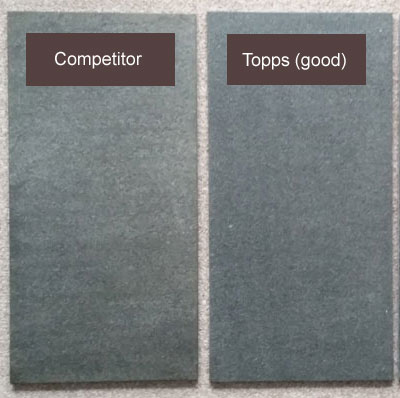 Topps Flamed brushed granite vs Competitor